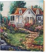 Victorian House With Gardens Wood Print