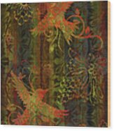 Victorian Humming Bird 3 Wood Print by JQ Licensing