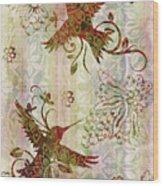 Victorian Humming Bird Pink Wood Print
