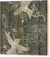 Victorian Hummingbird Green Wood Print