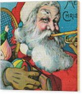 Victorian Illustration Of Santa Claus Holding Toys And Blowing On A Trumpet Wood Print