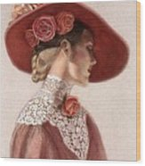 Victorian Lady In A Rose Hat Wood Print by Sue Halstenberg