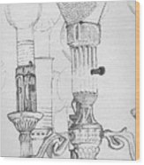 Victorian Lamp Drawing Wood Print by Ron Hayes