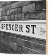 victorian metal street sign for spencer street on red brick building in the jewellery quarter Birmin Wood Print