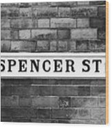 Victorian Metal Street Sign For Spencer Street On Red Brick Building In The Jewellery Quarter Wood Print