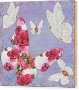 Victorian Wings, Fantasy Floral And Lace Butterflies Wood Print