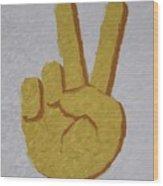 #victory Hand Emoji Wood Print