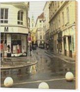 Vienna Corner After The Rain Wood Print