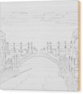 Vienna River Portal In Stadtpark, Vienna - Hand Drawing Wood Print