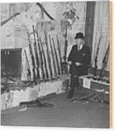 Viet Nam Vet John Dane With His Weapons Collection American Fork Utah 1975 Wood Print