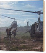 Vietnam War, Uh-1d Helicopters Airlift Wood Print by Everett