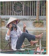 Vietnamese Lady Photographer At Tam Coc Wood Print