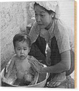 Vietnamese Orphan Bathing Wood Print