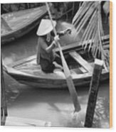 Vietnamese Woman Boat Ores Really For Tourist Mekong Delta  Wood Print