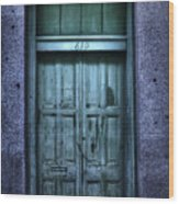 Vieux Carre' Doorway At Night Wood Print
