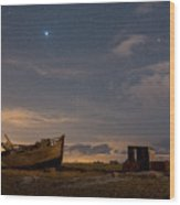View Across Dungeness Peninsula At Night. Wood Print