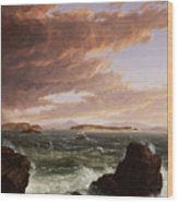 View Across Frenchman's Bay From Mt. Desert Island After A Squall Wood Print by Thomas Cole