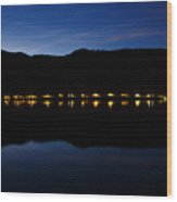 View Across Lake Bled At Night Wood Print