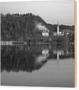 View Across Lake Bled In Black And White Wood Print