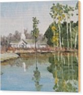 View Across The Pond Wood Print