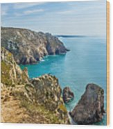 View From Cabo Da Roca, The Western Point Of Europe, Portugal Wood Print