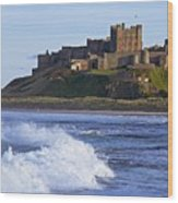 View From Ocean Of Bamburgh Castle Wood Print