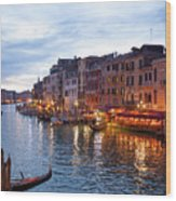 View From Rialto Bridge Of Venice By Night. Wood Print