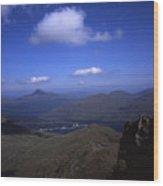 View From Summit Of Ben Arthur The Cobbler  Towards Loch Long Arrochar Loch Lomond And Ben Lomond Wood Print