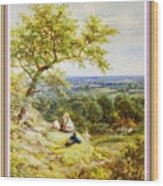 View From The Hill On The Village Below. P B With Decorative Ornate Printed Frame. Wood Print