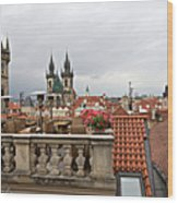 View From The Top In Prague Wood Print