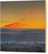 View From The Top Of Glastonbury Tor At Sunrise Wood Print