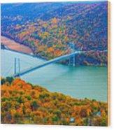View From Top Of Bear Mountain Of Bear Mountain Bridge Wood Print