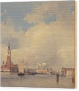 View In Venice With San Giorgio Maggiore Wood Print by Richard Parkes Bonington