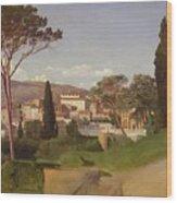 View Of A Villa Wood Print by Jean Achille Benouville