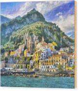 View Of Amalfi Wood Print