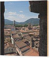 View Of Buildings Through Window Wood Print
