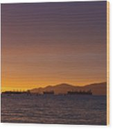 View Of Cargo Ships From Sunset Beach Vancouver Bc Wood Print