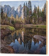 View Of Cathedral Peaks Wood Print by