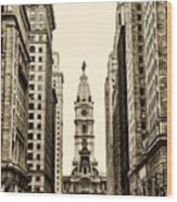 View Of Cityhall From Broad Street In Philadelphia Wood Print
