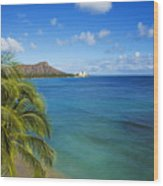 View Of Diamond Head Wood Print
