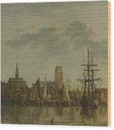 View Of Dordrecht At Sunset Wood Print