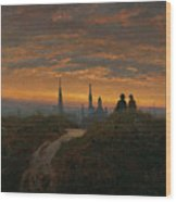View Of Dresden At Sunset  Wood Print
