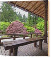 View Of Japanese Garden From The Veranda Wood Print