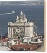 View Of Lisbon Harbor Wood Print