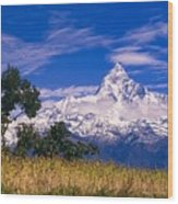 View Of Machhapuchhare From Sarangkot Wood Print