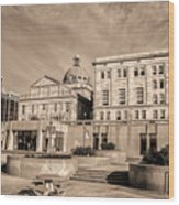 View Of Montgomery County Courthouse From The Southside In Sepia Wood Print