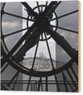 View Of Montmartre Through The Clock At Museum Orsay.paris Wood Print by Bernard Jaubert