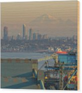 View Of Mount Baker And Vancouver Bc At Sunset Wood Print