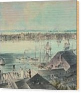 View Of New York From Brooklyn Heights Ca. 1836, John William Hill Wood Print