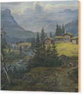 View Of Oylo Farm, Valdres Wood Print